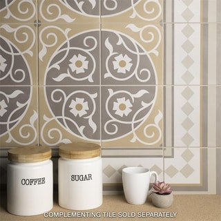 SomerTile 7.875x7.875-inch Piccola Loire Border Porcelain Floor and Wall Tile