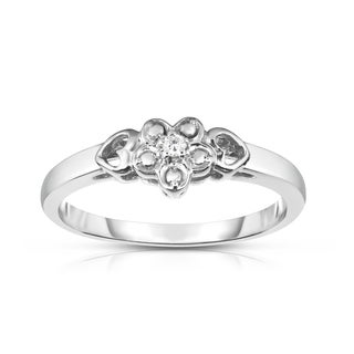 Link to Noray Designs 14k Gold Diamond Accent Flower and Heart Design Ring - White Similar Items in Rings