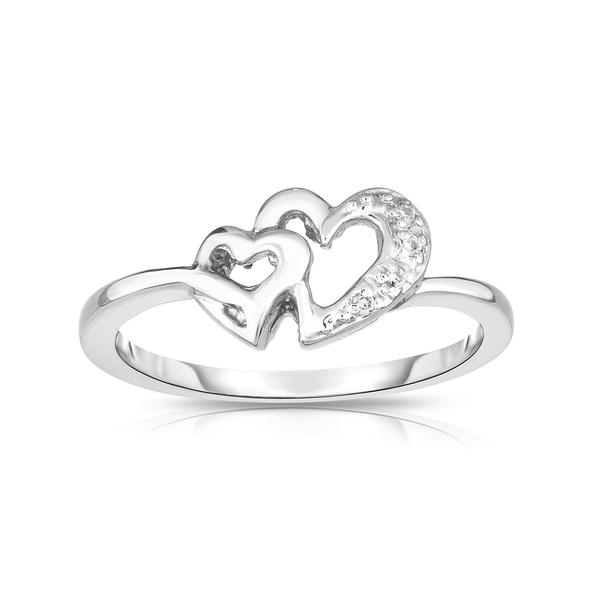 Noray Designs 14k Gold Diamond Accent Double Heart Ring - White. Opens flyout.