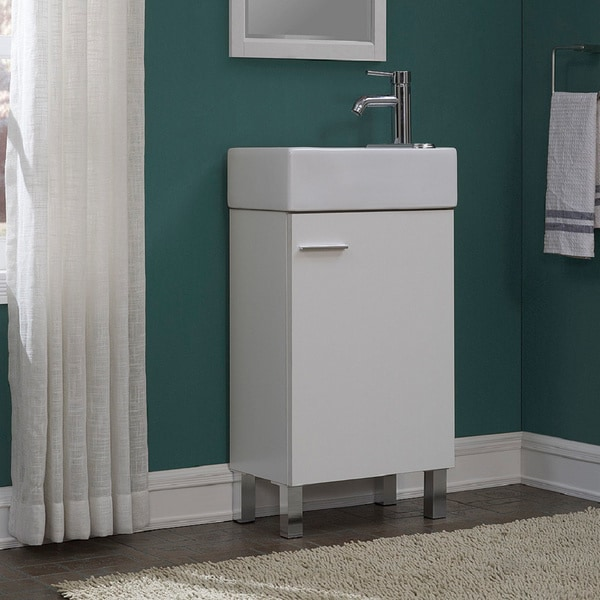 Shop Urbana White 18-inch Single Bathroom Vanity Set - Free Shipping on 18 inch closets, 18 inch appliances, 18 inch bookcases, 18 inch cherry vanity, 18 inch bathroom countertops, 18 inch computer desks, 18 inch bathroom shelves, 18 inch bathroom sink,