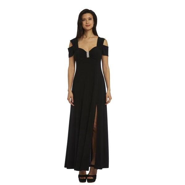R&M Richards Black Cold Shoulder Evening Gown