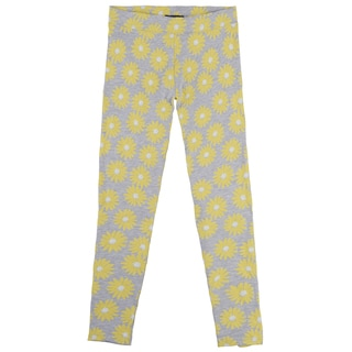 French Toast Girls' Heather Grey Floral Print Leggings