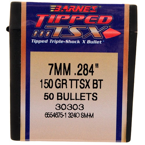 Barnes Bullets Triple-Shock X 284 Caliber, 7mm, 150 Grain, Tipped Spitzer Boat Tail, Per 50