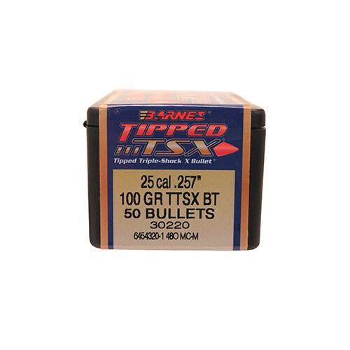 Barnes Bullets Triple-Shock X 25 Caliber, 100 Grain, Tipped Spitzer Boat Tail, Per 50