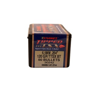 Barnes Bullets Triple-Shock X 264 Caliber, 6.5mm, 120 Grain, Tipped  Spitzer Boat Tail, Per 50