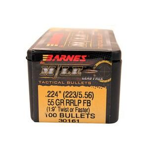 Barnes Bullets Match Burners 223/5.56, RRLP, 55 Grain, Flat Base, Per 100