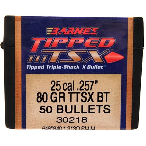 Barnes Bullets Triple-Shock X 25 Caliber, 80 Grain, Tipped Spitzer Boat Tail, Per 50