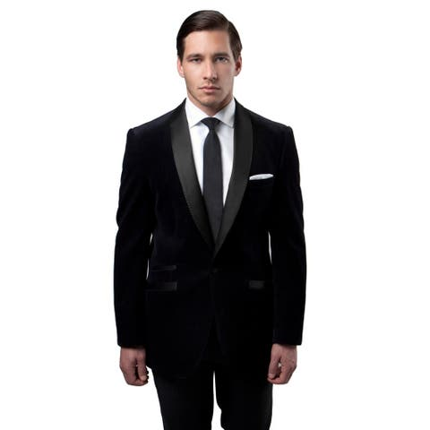 Tazio Men's Black Single-breasted Dinner Jacket