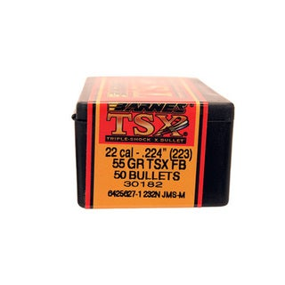 Barnes Bullets Triple-Shock X 22 Caliber, 55 Grain, Flat Base Hollow Point, Per50
