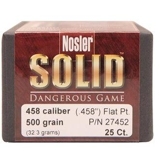 Nosler 458 Caliber Bullets Soild, 500 Grains, Flat Nose Lead-Free, Per 25