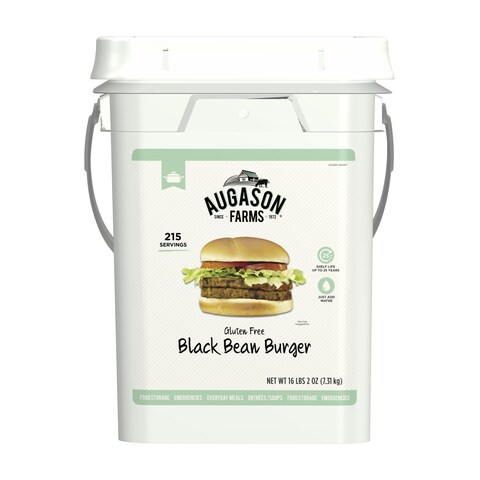 Augason Farms Gluten Free Black Bean Burger 16 lbs 2 oz 4 Gallon Pail