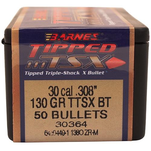 Barnes Bullets Triple-Shock X 30 Caliber, 130 Grain, Tipped Spitzer Boattail, Per 50