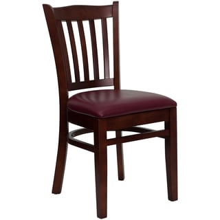 Riverdale Mehogany Wood Burgundy Upholstered Classic Dining Chairs