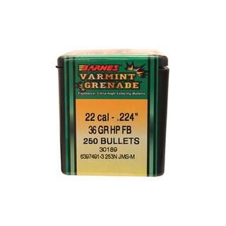 Barnes Bullets Varmint Grenade 22 Caliber, 36 Grain, Flat Base Hollow Point,  Per 250