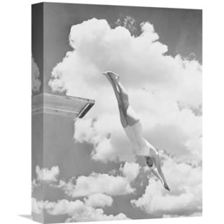Global Gallery 'Woman Jumping from Springboard' Stretched Canvas Artwork