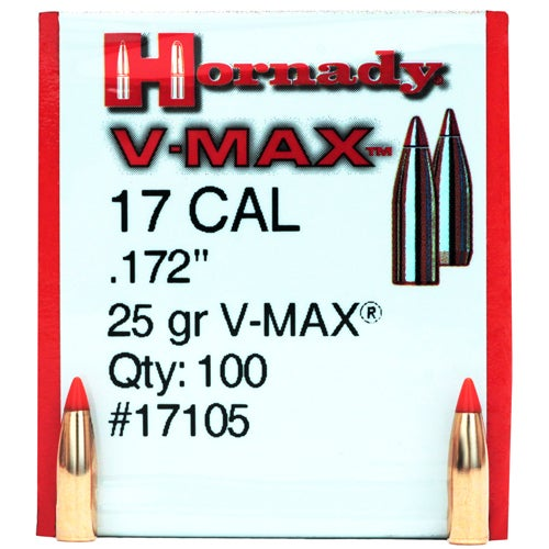 Hornady 17 Caliber Bullets 17 Caliber 25gr V-Max(100)
