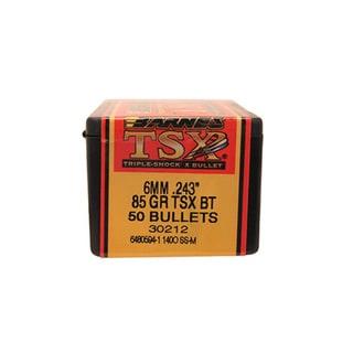 Barnes Bullets Triple-Shock X 243 Caliber 6mm, 85 Grain,  Hollow Point Boattail, Per 50