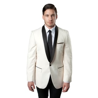 Tazio Men's Ivory and Black Blazer