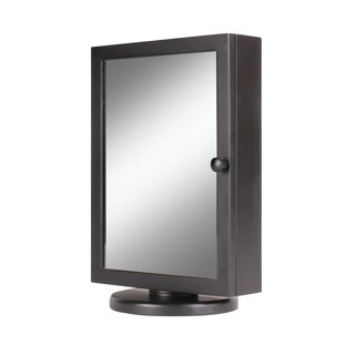 Kate and Laurel Justine Black Wood and Glass Swiveling Counter-top Jewelry Armoire