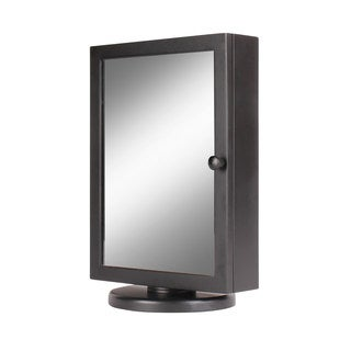 """Kate and Laurel Justine Black Wood and Glass Swiveling Counter-top Jewelry Armoire - 12.12""""h x 8.25""""w x 6""""l"""