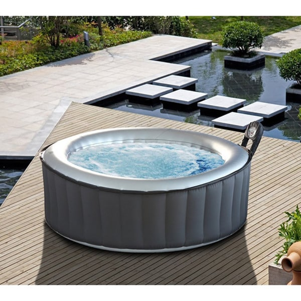MSPA Alpine Hot Tub, 6 Person Silver Cloud Round Inflatable Bubble Spa / M-021LS