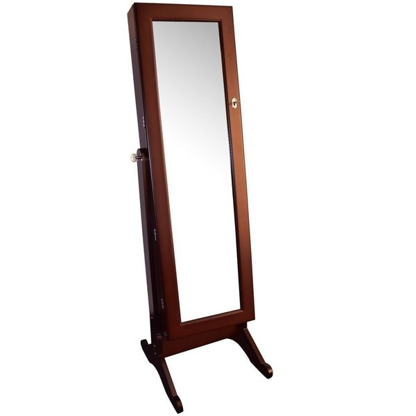 Ikee Design Wooden 16.5-inch Wide x 6.5-inch Deep x 60-inch High Jewelry Armoire with Mirror