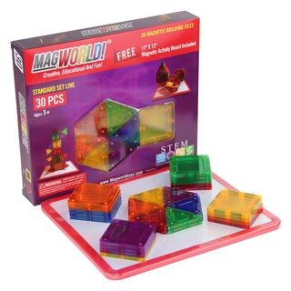MagWorld Toys Rainbow 3D Magnetic Building Tiles 30 Pieces w/ Activity Board