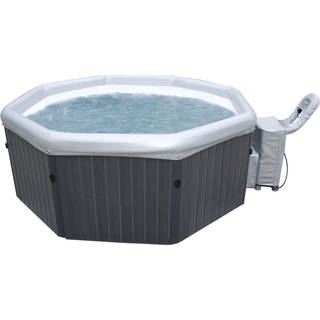 MSpa Premium Tuscany Hot Tub 4 Person Inflatable Plastic Wood Bubble Spa PM-610S