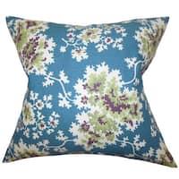 "Danique Floral 22"" x 22"" Down Feather Throw Pillow Blue"