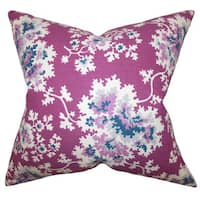 "Danique Floral 22"" x 22"" Down Feather Throw Pillow Purple"