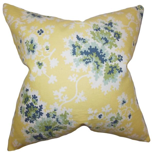 """Danique Floral 22"""" x 22"""" Down Feather Throw Pillow Lemon"""