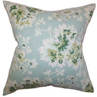 """Danique Floral 22"""" x 22"""" Down Feather Throw Pillow Sea Green"""