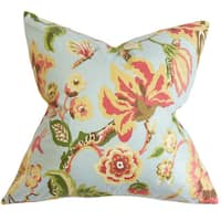 """Chaya Floral 22"""" x 22"""" Down Feather Throw Pillow Light Blue"""