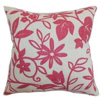 Gambela Floral 22-inch Down Feather Throw Pillow Rose