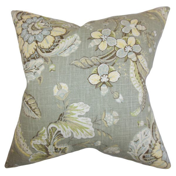 Shop Eluned Floral 22 Inch Down Feather Throw Pillow Green Overstock 14390917