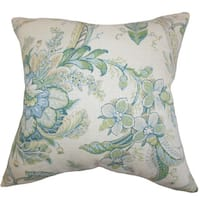 Eluned Floral 22-inch Down Feather Throw Pillow Blue