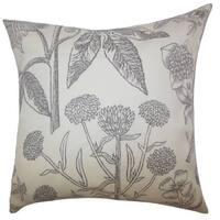 "Neola Floral 22"" x 22"" Down Feather Throw Pillow Gray"