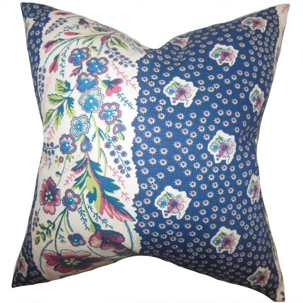 Elske Floral 22-inch Down Feather Throw Pillow Sapphire