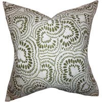 Glynis Floral 22-inch Down Feather Throw Pillow Olive Green