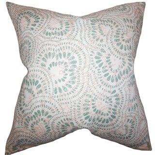 """Glynis Floral 22"""" x 22"""" Down Feather Throw Pillow Pink Green"""