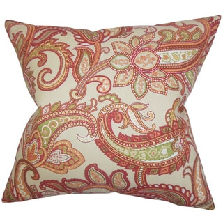 Galila Floral 22-inch Down Feather Throw Pillow Orange