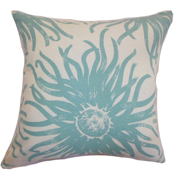 Ndele Floral 22-inch Down Feather Throw Pillow Aqua