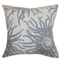 Ndele Floral 22-inch Down Feather Throw Pillow Grey
