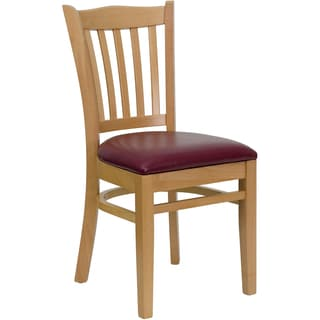 Riverdale Natural Wood Burgundy Upholstered Classic Dining Chairs