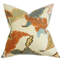 Xelomina Floral 22-inch Down Feather Throw Pillow Brown