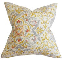 Halcyon Floral 22-inch Down Feather Throw Pillow Gray Yellow