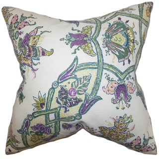 Laelia Floral 22-inch Down Feather Throw Pillow Purple