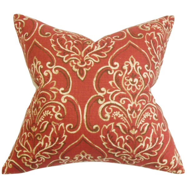 Yonah Floral 22-inch Down Feather Throw Pillow Red