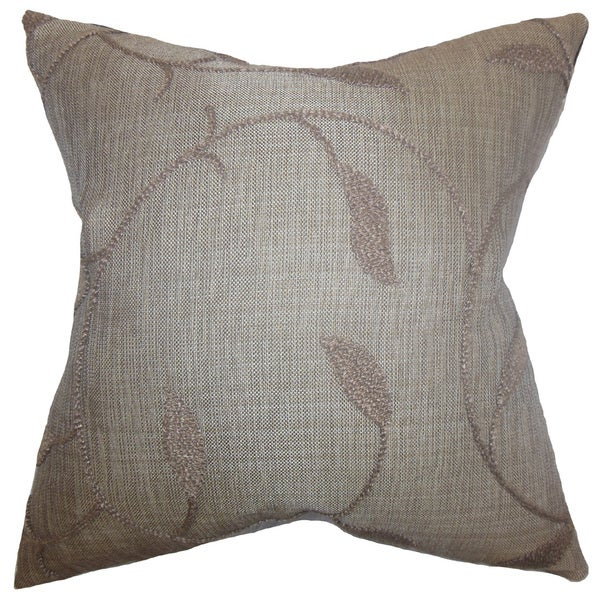 """Delyth Floral 22"""" x 22"""" Down Feather Throw Pillow Java"""