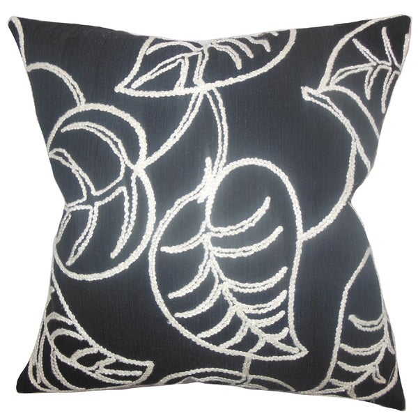 Fabrizia Floral 22-inch Down Feather Throw Pillow Black